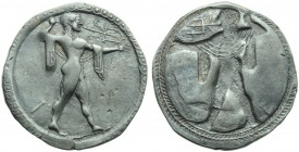Lucania, Poseidonia, Stater, c. 530-500 BC.; AR (g 7,45; mm 30; h 12); [ΠΟΣ], Poseidon advancing r., holding trident and wearing chlamys, Rv. Same typ...