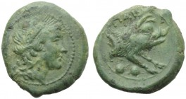Lucania, Paestum, Sextans, c. 218-201 BC; AE (g 4,41; mm 19; h 5); Head of Ceres r., wearing wreath of grain, Rv. PAIS, forepart of boar r.; below, tw...