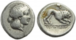 Lucania, Velia, Didrachm, c. 400-340 BC; AR (g 7,65; mm 20; h 3); Head of nimph r., hair bound in krobylos, wearing necklace, Rv. Lion advancing r.; a...