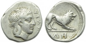 Lucania, Velia, Didrachm, c. 400-340 BC; AR (g 6,87; mm 19; h 3); YEΛH, head of nimph r., hair bound in krobylos, Rv. Lion advancing r.; in ex. ΔH. HN...