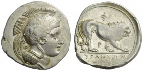 Lucania, Velia, Didrachm, c. 340-334 BC; AR (g 7,68; mm 22; h 9); Head Athena r., wearing crested Attic helmet, decorated with griffin; below the neck...