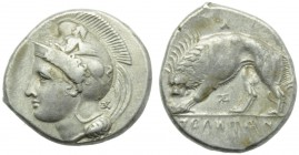 Lucania, Velia, Didrachm, c. 334-300 BC; AR (g 7,58; mm 20; h 3); Head of Athena l., wearing crested Phrygian helmet, decorated with centauress; on r....