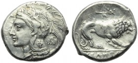 Lucania, Velia, didrachm, c. 280 BC; AR (g 7,38; mm 21; h 1); Head of Athena l., wearing Attic crested helmet, decorated with griffin; on neckguard, Φ...