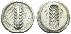 Lucania, Metapontion, Drachm, c. 540-510 BC; AR (g 2,53; mm 17; h 12); MET, barley ear; on r., grain of barley, Rv. Same type incuse. HNItaly 1477; No...