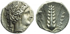 Lucania, Metapontion, Stater, c. 340-330 BC; AR (g 7,56; mm 20; h 1); Veiled head of Demeter r., wearing wreath of grain, earrings and necklace, on l....
