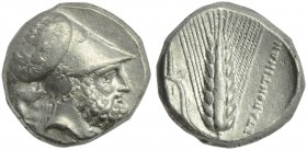 Lucania, Metapontion, Distater, c. 340-330 BC; AR (g 15,73; mm 24; h 6); Head of Leukippos r., wearing Corinthian helmet, decorated with Nike in quadr...