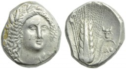 Lucania, Metapontion, Stater, c. 330-290 BC; AR (g 7,90; mm 19; h 6); Head of Demeter facing, slighty r., wearing wreath of grain, earrings and neckla...