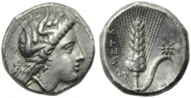 Lucania, Metapontion, Stater, c. 330-290 BC; AR (g 7,67; mm 20; h 4); Head of Demeter r., wearing barley wreath, earrings and necklace; on r., [EY], R...