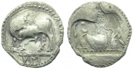 Lucania, Sybaris, Drachm, c. 550-520 BC; AR (g 2,49; mm 19; h 12); Bull advancing l., head turned back; in ex., MV (retrograde), Rv. Same type incuse....