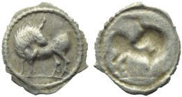 Lucania, Sybaris, Obol, c. 550-510 BC; AR (g 0,19; mm 11; h 12); Bull advancing l., head turned back, on exergual line, Rv. Same type incuse. HNItaly ...