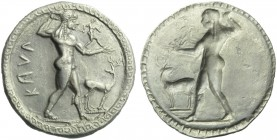 Bruttium, Caulonia, Stater, c. 525-500 BC; AR (g 8,11; mm 30; h 12); KAVΛ (retrograde), Apollo standing r., holding branch and small figure running; o...