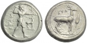 Bruttium, Caulonia, Stater, c. 474-425 BC; AR (g 8,16; mm 19; h 12); KAVΛ, Apollo standing r., holding branch and small figure running; on r., stag, R...