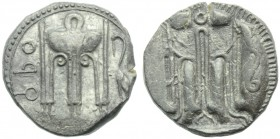 Bruttium, Croton, Stater, c. 480-430 BC; AR (g 8,01; mm 19; h 9); ϘPO, tripod with legs ending in lion's paws, on the lebes, serpents and ornaments; o...