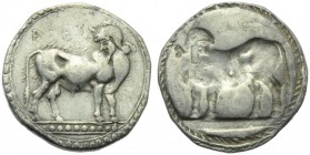Bruttium, Laos, Stater, c. 510-500 BC; AR (g 7,91; mm 23; h 12); ΛAOΣ, man headed bull standing r., head reverted, Rv. [NOΣ], same type incuse. HNItal...