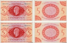 Country : FRENCH EQUATORIAL AFRICA  Face Value : 5 Francs Consécutifs  Date : (1943)  Period/Province/Bank : Caisse Centrale de la France d'Outre-Mer ...