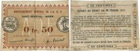 Country : FRENCH WEST AFRICA (1895-1958)  Face Value : 50 Centimes Spécimen  Date : 11 février 1917  Period/Province/Bank : Gouvernement Général de l'...