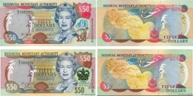 Country : BERMUDA  Face Value : 50 Dollars Petit numéro  Date : 2000-2003  Period/Province/Bank : Bermuda Monetary Authority  Catalogue reference : P....
