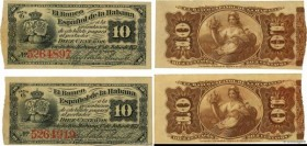 Country : CUBA  Face Value : 10 Centavos Lot  Date : 01 juillet 1872  Period/Province/Bank : El Banco Espanol de la Habana  Catalogue reference : P.30...