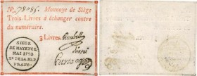 Country : FRANCE regionalism and miscellaneous  Face Value : 3 Livres  Date : juin 1793  Period/Province/Bank : Siège de Mayence  French City : Mayenc...