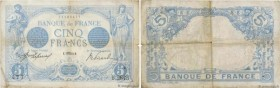 Country : FRANCE  Face Value : 5 Francs BLEU  Date : 07 août 1913  Period/Province/Bank : Banque de France, XXe siècle  Catalogue reference : F.02.20 ...
