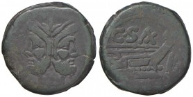 Clovia - Asse 169-158 a.C.) Testa di Giano - R/ Prua a d. - B. 1; Cr. 180/1 AE (g 26,96)