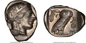 ATTICA. Athens. Ca. 440-404 BC. AR tetradrachm (27mm, 17.21 gm, 3h). NGC Choice AU 5/5 - 5/5. Mid-mass coinage issue. Head of Athena right, wearing cr...