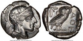 ATTICA. Athens. Ca. 440-404 BC. AR tetradrachm (26mm, 17.17 gm, 10h). NGC Choice AU 5/5 - 3/5. Mid-mass coinage issue. Head of Athena right, wearing c...