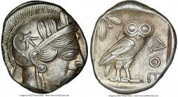 ATTICA. Athens. Ca. 440-404 BC. AR tetradrachm (25mm, 17.22 gm, 7h). NGC Choice AU 3/5 - 4/5. Mid-mass coinage issue. Head of Athena right, wearing cr...