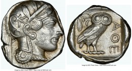 ATTICA. Athens. Ca. 440-404 BC. AR tetradrachm (25mm, 17.21 gm, 8h). NGC AU 5/5 - 4/5. Mid-mass coinage issue. Head of Athena right, wearing crested A...
