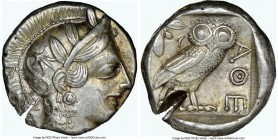 ATTICA. Athens. Ca. 440-404 BC. AR tetradrachm (24mm, 16.99 gm, 9h). NGC AU 4/5 - 2/5, test cut. Mid-mass coinage issue. Head of Athena right, wearing...