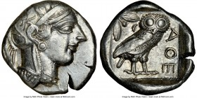 ATTICA. Athens. Ca. 440-404 BC. AR tetradrachm (24mm, 17.16 gm, 4h). NGC Choice XF 4/5 - 4/5. Mid-mass coinage issue. Head of Athena right, wearing cr...