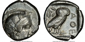 ATTICA. Athens. Ca. 440-404 BC. AR tetradrachm (24mm, 17.18 gm, 7h). NGC Choice XF 2/5 - 4/5. Mid-mass coinage issue. Head of Athena right, wearing cr...