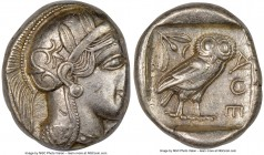 ATTICA. Athens. Ca. 440-404 BC. AR tetradrachm (25mm, 17.16 gm, 7h). NGC Choice XF 2/5 - 4/5. Mid-mass coinage issue. Head of Athena right, wearing cr...