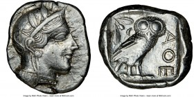 ATTICA. Athens. Ca. 440-404 BC. AR tetradrachm (26mm, 17.15 gm, 9h). NGC XF 4/5 - 4/5. Mid-mass coinage issue. Head of Athena right, wearing crested A...