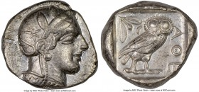 ATTICA. Athens. Ca. 440-404 BC. AR tetradrachm (26mm, 17.19 gm, 6h). NGC Choice VF 5/5 - 3/5. Mid-mass coinage issue. Head of Athena right, wearing cr...