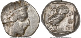 ATTICA. Athens. Ca. 440-404 BC. AR tetradrachm (24mm, 17.18 gm, 11h). NGC Choice VF 4/5 - 3/5, edge cut. Mid-mass coinage issue. Head of Athena right,...