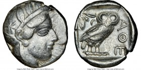 ATTICA. Athens. Ca. 440-404 BC. AR tetradrachm (26mm, 17.15 gm, 7h). NGC VF 5/5 - 3/5. Mid-mass coinage issue. Head of Athena right, wearing crested A...
