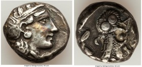 ATTICA. Athens. Ca. 393-294 BC. AR tetradrachm (23mm, 18.10 gm, 9h). VF, countermark. Late mass coinage issue. Head of Athena with eye in true profile...