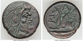 CIMMERIAN BOSPORUS. Panticapaeum. 4th century BC. AE (21mm, 6.72 gm, 12h). Choice XF. Head of bearded Pan right / Π-A-N, forepart of griffin left, stu...