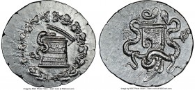 MYSIA. Pergamum. Ca. 180/167-133 BC. AR cistophorus (29mm, 12.91 gm, 12h). NGC Choice AU 5/5 - 3/5. Ca. 160-150 BC. Serpent emerging from cista mystic...