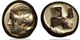 IONIA. Phocaea. Ca. 477-388 BC. EL sixth-stater or hecte (10mm). NGC VF. Head of Athena left, wearing crested Attic helmet decorated with a griffin; s...