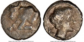 CARIA. Casolaba. Ca. 4th century BC. AR tetartemorion(?) (5mm, 10h). NGC XF. Forepart of bull left / K-A, head of young male right. cf. SNG Kayhan 994...