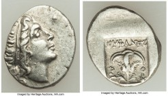 CARIAN ISLANDS. Rhodes. Ca. 88-84 BC. AR drachm (15mm, 2.48 gm, 1h). Plinthophoric standard, Euphanes, magistrate. Radiate head of Helios right / EYΦA...