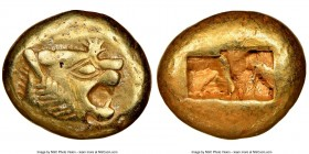 LYDIAN KINGDOM. Alyattes or Walwet (ca. 610-546 BC). EL third-stater or trite (13mm, 4.72 gm). NGC Choice VF 5/5 - 3/5, scuff. Uninscribed, Lydo-Miles...