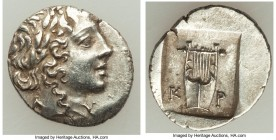 LYCIAN LEAGUE. Cragus. Ca. 48-20 BC. AR hemidrachm (16mm, 1.70 gm, 12h). AU. Series 1. Laureate head of Apollo right; Λ-Y below / K-P, cithara (lyre);...
