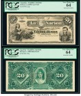 Argentina Banco de la Nacion Argentina 20 Pesos 1.1.1895 Pick 222p Face and Back Proofs PCGS Very Choice New 64 (2). Perforated cancelled.  HID0980124...