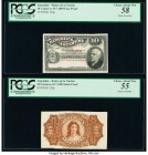 Argentina Banco de la Nacion Argentina 10 Centavos 19.7.1895 Pick 228p Face and Back Proofs PCGS Choice About New 55; Choice About New 58. Minor mount...