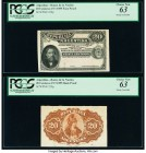 Argentina Banco de la Nacion Argentina 20 Centavos 19.7.1895 Pick 229p Face and Back Proofs PCGS Choice New 63 (2). Minor remnants on the back, and st...