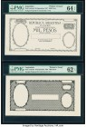 Argentina Republica Argentina la Nacion 1000 Pesos 20.9.1897 Pick Unlisted Front and Back Printer's Essays PMG Uncirculated 62 EPQ; Choice Uncirculate...