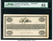 Argentina Confederacion Argentina 5 Pesos ND (ca. 1850) Pick S162s Specimen PMG Choice Uncirculated 63. Plate note from the Robert J. Bauman Collectio...
